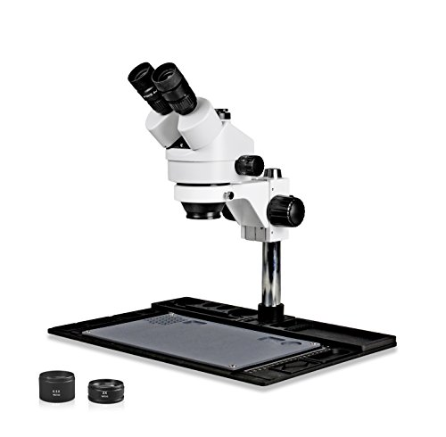 Vision Scientific VS-10FZ-IFR07 Simul-Focal Trinocular Stereo Zoom 7x-45x Microscope with Barlow Lens, 144-LED Ring Light, Repair and Maintenance Platform for Soldering and, Cell Phone Repair