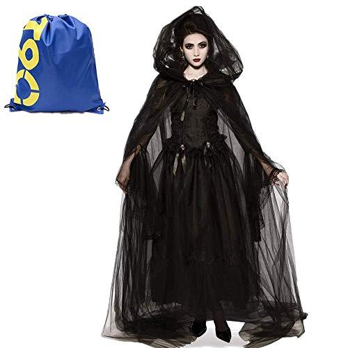 Much-Green Damen Hexen kostüm Langarm Mittelalter Vampir Kleid Schwarz Hexen Umhänge Kapuze Halloween Zombie ,Horror Vampir Langes Robe Kostüme Karneval für Erwachsene Cosplay (XXL, Braut)