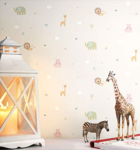 NEWROOM Kindertapete beige Tiere Kinder Papiertapete bunt Papier Kindertapete Kinderzimmer Babytapete Babyzimmer