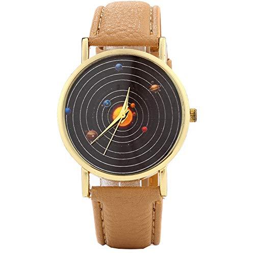 Deanyi Armbanduhr Herren Jungen Unisex Uhr Mode einfache Art Armband Quarz kreative Milchstraße Asteroid Muster Dial Armband Uhr mit Lederband mit Akku |Kaffee