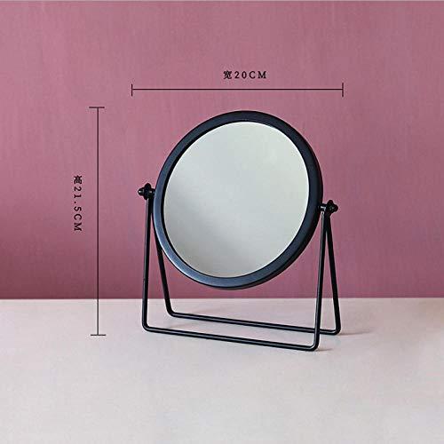 AJIHFD Europese ronde smeedijzer eenzijdige desktop spiegel Eenvoudige draagbare meisje desktop kaptafel spiegel