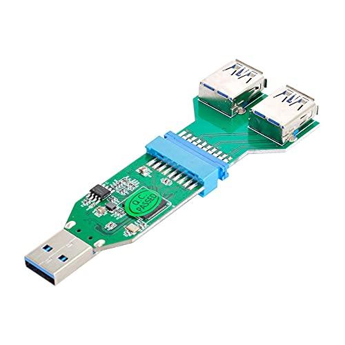 Xiwai USB 3.0 tipo A a la placa base 20pin encabezado hembra Hub y 20pin a adaptador hembra USB 3.0 dual