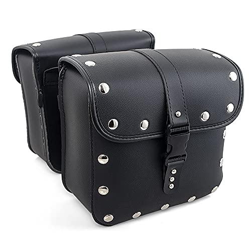 HAIHAOYF Motocicleta Saddleags Equipaje Black Brown Side Saddle Bag (Color Name : Black with Silver)