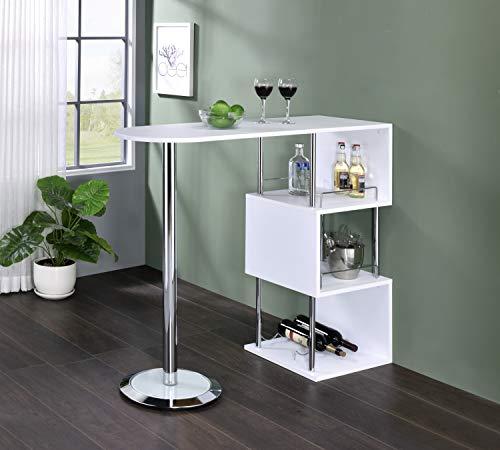Kings Brand Furniture - Minorca Modern Wine Bar Table w/Shelves (White)