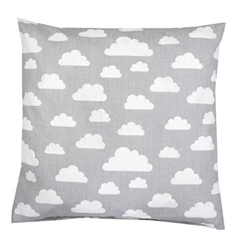 TupTam Kissenhülle Dekorativ Gemustert, Farbe: Grau Weiße Wolken, Größe: 80 x 80 cm