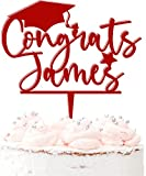 Felicidades personalizables para tartas de graduación de acrílico, 20 colores, color rojo oscuro