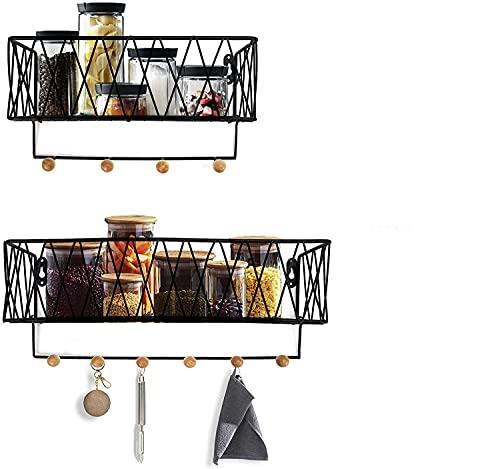AGSIVO 2pcs Estantería de Pared, con Gancho de Pared Extraíble, Estantería Colgante Decoración de Pared, Estantes Flotantes Metálico para Cocina, Baño, Oficina, Sala de Estar, Dormitorio Negro