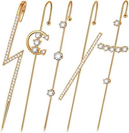 5pcs Ear Wrap Crawler Hook EarringsEar Wrap Crawler Hook Earrings for Women Girls Fashion Unique Gold Cuff Earring Set Rhinestone Ear Jewelry