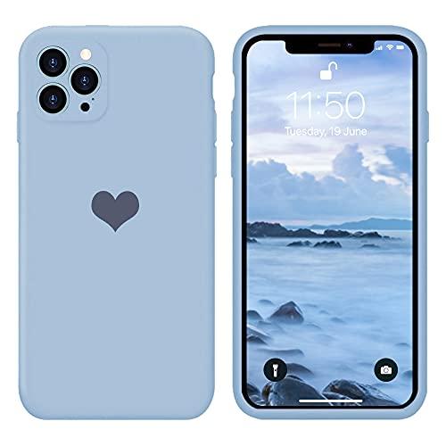 13peas Kompatibel mit iPhone 12 Pro Hülle 6,1\'\'(2020),Herz Motiv Liquid Silikon Gummi Ganzkörperschutz stoßfeste Case schutzschale Hüllen Tasche Handytasche Etui für Apple 12 Pro (Blau)