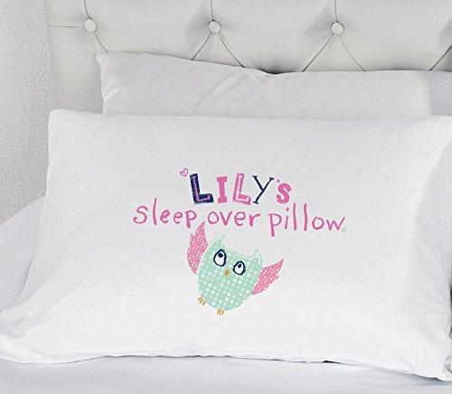 Personnalisé Filles Hibou Soirée pyjama Housse d'OREILLER TAIE OREILLER cadeau literie pour enfants présent illustré Sleep Over
