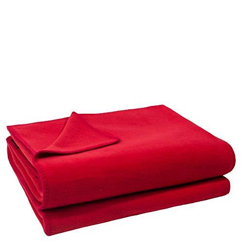 Soft-Fleece-Decke – Polarfleece-Decke mit Häkelstich – flauschige Kuscheldecke – 110x150 cm – 355 geranium - von 'zoeppritz since 1828'