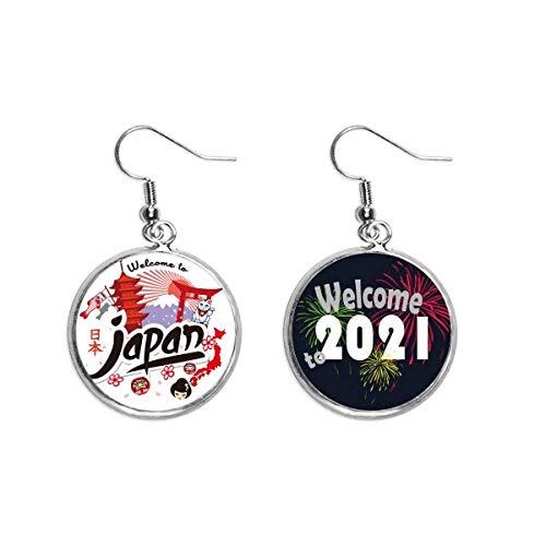 Japón rojo negro mapa chica suerte gato pendientes pendientes joyería 2021 bendición