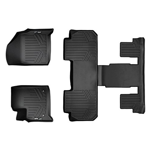 SMARTLINER Custom Fit Floor Mats 3 Row Liner Set Black for 2018-2019 Chevrolet Traverse with 2nd Row Bucket Seats