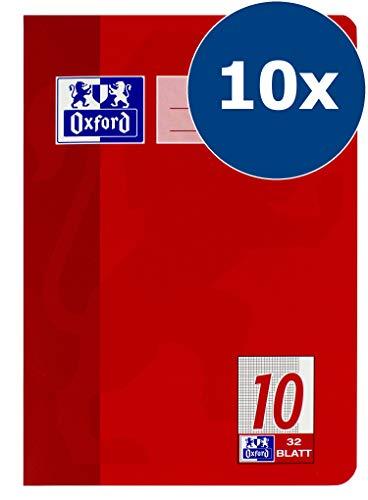 Oxford 100050382 - Quaderno scolastico, A5, lineatura 10 a quadretti con margine, 32 fogli, carta ottica 90 g/m², confezione da 10 pezzi, colore: Rosso