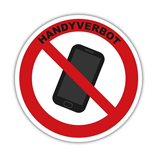 Handyverbot Smartphone Aufkleber, Warnzeichen, Verbotsschild 10cm (mit Text)