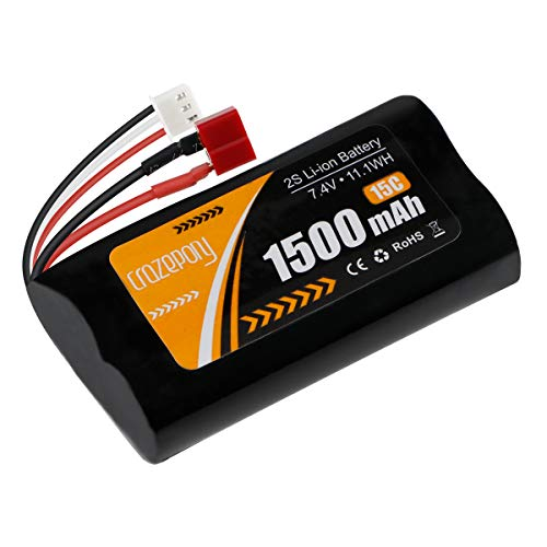 FancyWhoop 2S Li-Ionen-Akku 7,4 V 1500 mAh 15 C Akku T-Stecker mit USB-Ladekabel für Jumper T16 T12 T8SG Sender Fernbedienung RC Auto Offroad Truck Batterie