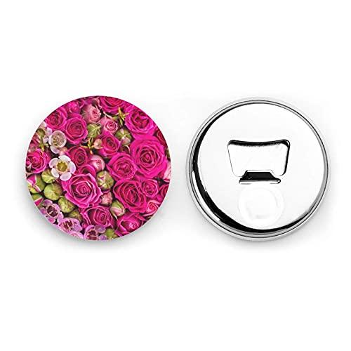Rosas en ciernes Abrebotellas redondas / Imanes de nevera Etiqueta magnética de acero inoxidable 2 piezas