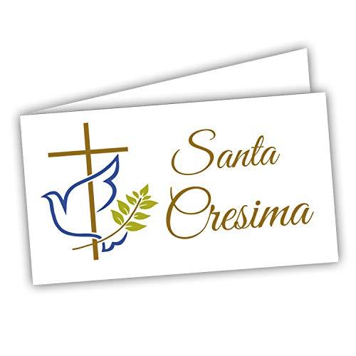 Bigliettini Bomboniera Cresima - Biglietti per confetti e sacchetti confetti 60 pezzi pretagliati - stampa l'interno con link e il foglio di prova per non sbagliare
