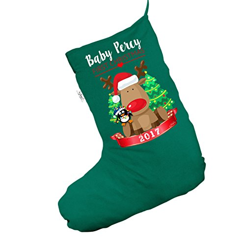 Personalizzato Baby First Christmas Rudolph Penguin Jumbo Green Deluxe calza di Natale