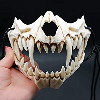 Japanese Halloween Mask Resin Mask Half Face Skull Scary Mask Cosplay Decorative for Adults