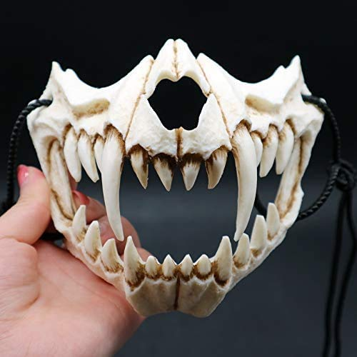 Japanese Halloween Mask, Resin Mask Half Face Skull Scary Mask Cosplay Decorative for Adults