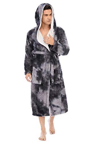 GXFXLP Bata Personalizada, Bata con Capucha, Pijamas para él y para Ella Albornoces cálidos de Franela Suave con Capucha o Cuello Chal para Invierno frío,C,XL