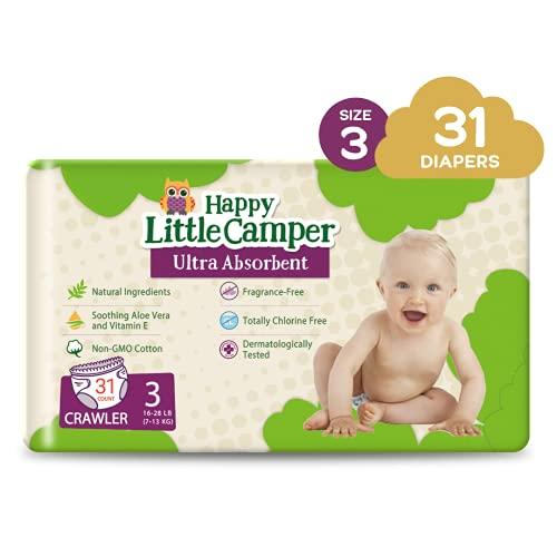 Happy Little Camper - Pannolini usa e getta per bambini, ultra assorbente, ipoallergenici, senza cloro, per pelli sensibili, taglia 3, 31