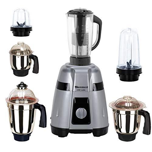 Sunmeet Silver Color 1000Watts Mixer Juicer Grinder with 6 Jar (2 Bullet Jar, 1 Juicer Jar with Filter, 1 Large Jar, 1 Medium Jar and 1 Chutney Jar) MGF20-SUN-855