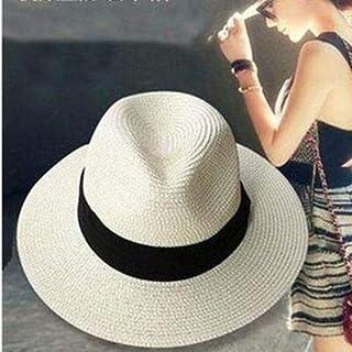 LONLLWK Sombrero para El Sol Sombreros De Paja para Las Mujeres Sombrero De Panamá Beige Blanco Playa para Hombre Casual De ala Ancha Verano Moda Sun Hat