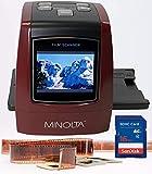 MINOLTA Film & Slide Scanner, Convert Color & B&W 35mm, 126, 110 Negative & Slides, Super 8 Films to High Resolution 22MP JPEG Digital Photos, 16GB SD Card, Worldwide 110V/240V AC Adapter (Red)
