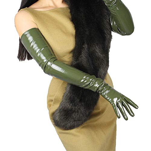 DooWay Women Patent Leather EXTRA LONG Gloves for Costume Dressy Cosplay Wet Look Olive Green