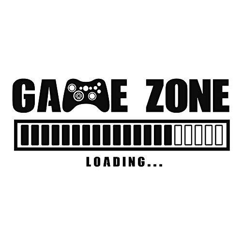 Game Zone Loading Wandtattoo, abnehmbare Wandaufkleber, schwarze PVC-Zitate für Zuhause, Büro, Wohnheim, Kinderzimmer, Schule, Zimmer, Spiegel, Fenster, Kunst-Dekoration, DIY (56 cm x 23 cm)