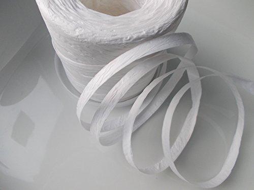 Cinta de papel de rafia, color blanco, 200 metros, rollo completo, 7 mm de ancho, decoración de flores, regalos y manualidades.