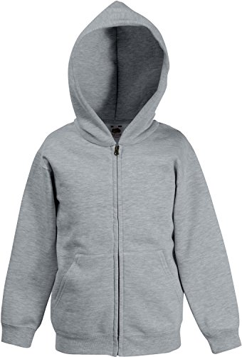 Kids Kapuzen-Sweatjacke 128 (7-8),Heather Grey