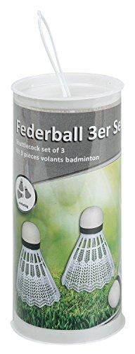 Idena 7418409 - Federball in weiß, aus Kunststoff mit Schaumstoffspitze, 3 Stück runder Dose