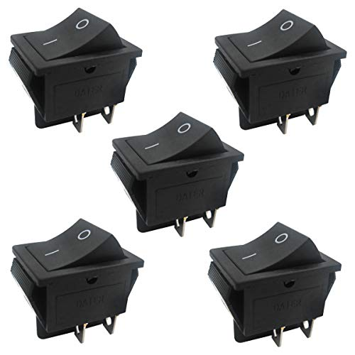 Taiss / 5Pcs AC 250V / 16A, 125V / 20A schwarz EIN/AUS DPST 4 Pin 2 Position Mini Bootswippschalter Auto Auto Bootswippschalter Kippschalter Snap (Quality Assurance for 1 Years) KCD2-201-BK