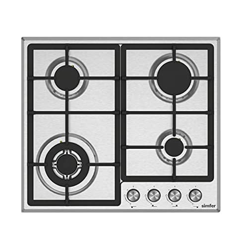Simfer gaskookplaat | Inbouw | Aardgas/Propaangas | 60 cm | 4-pits | Wokbrander | Automatische uitschakeling | Zelfvoorzienend | De Solide Gietijzeren Pannendragers | Draaiknoppen | RVS