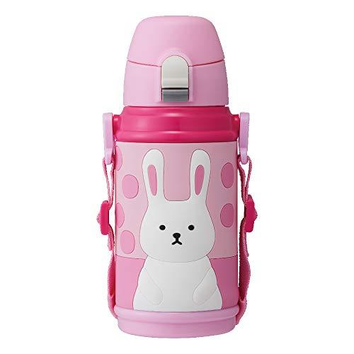 ドウシシャ 水筒 キッズボトル 2WAY(コップ・ダイレクト) 3Dイラスト 600ml ウサギ ピンク