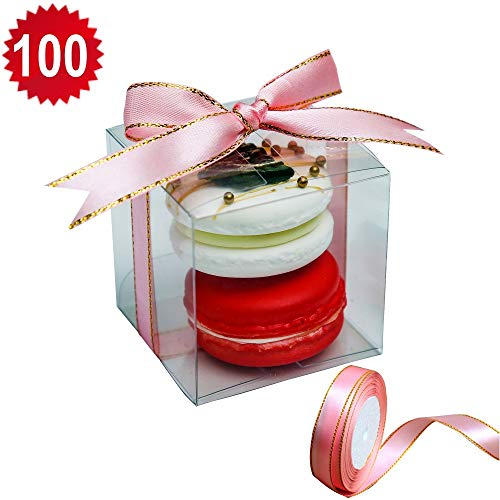 RomanticBking 100pcs Plastic Boxes With Pink Ribbon, 2.17 x 2.17 x 2.17 Inch 2 Macaron Boxes For Wedding Favors,Babay Shower,Birthday Party,Gift box for Candy Cookie Chocolate Donut