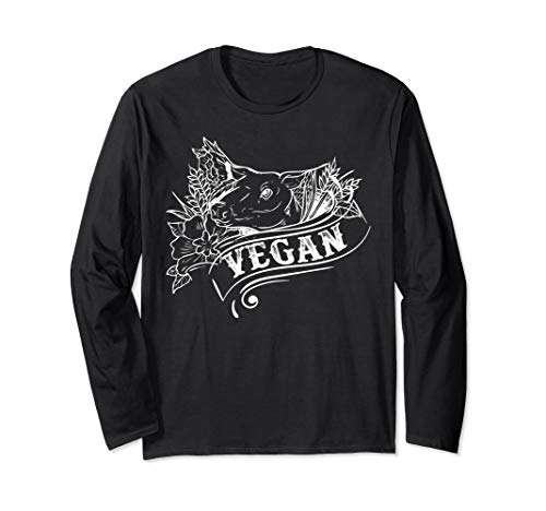 I Don't Eat My Friends, Girls Pig Tee Vegan Vegetarian Long Sleeve T-Shirt