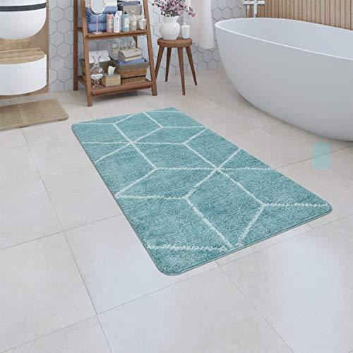 Paco Home Badematte Kurzflor Teppich Badezimmer Karo Rauten Geometrisch Skandi Muster, Grösse:80x150 cm, Farbe:Türkis