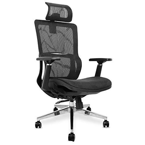 mfavour Bürostühl Ergonomisch Drehstuhl mit 3D Armlehnen, Atmungsaktives Netz Sitz Computerstuhl Chefsessel, Verstellbare Kopfstütze, Höhenverstellung, bis 150 kg/330lb