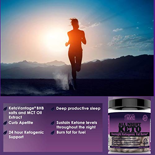 CLEAN+LEAN ALL NIGHT KETO: First Ever Overnight Ketogenic Fat Burner & Sleep Aid | BHB Ketones + MCT Oil + Vitamins & Immunity Complex | 24 HR Diet Sleep Great Lose Weight | All Natural & GF | 60 Caps 7