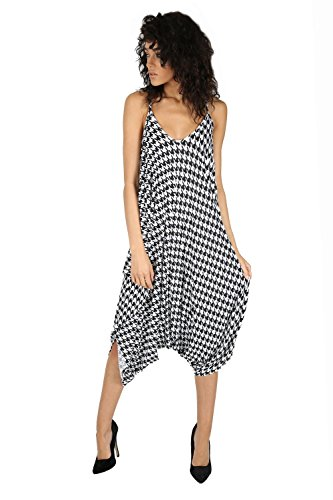 Oops Outlet Women's Thin Strap Lagenlook Romper Baggy Harem Jumpsuit Playsuit Plus Size (US 16/18) Dogtooth White Black