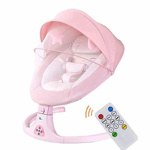 BABYNEED Elektrische Babywippe, Babyschaukel, Babyliege, mit Bluetooth, kinderschaukel mit 3-Stufiger, Bionisches Design,Baby wippe elektronisch für Neugeborene von 0-24 Monaten,Pink