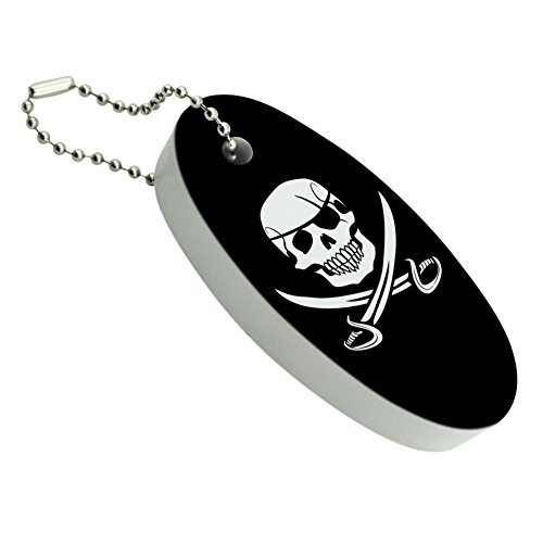 Graphics and More Pirate Skull Crossed Swords Jolly Roger Floating Keychain Oval Foam Fishing Boat Buoy Key Float