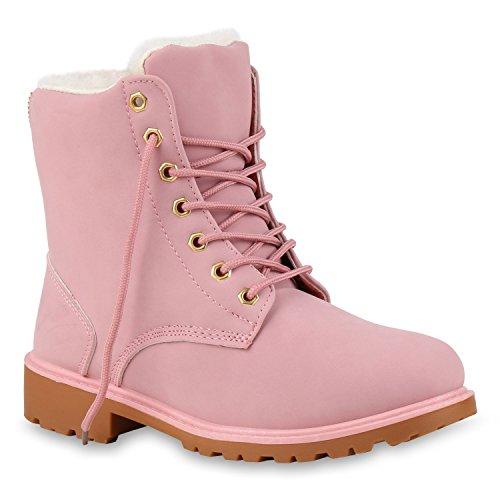 Worker Boots Warm Gefütterte Damen Herren Stiefeletten Knöchelhohe Stiefel Zipper Kunstfell Schnürer Outdoor Schuhe 124555 Rosa 38...