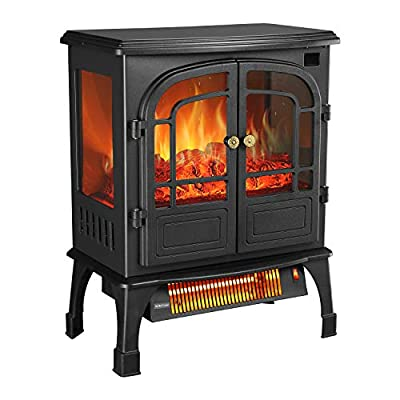 PUPZO Electric Fireplace Stove Heater with Remote Adjustable Thermostat for Office and Home 12H Timer 3D Flame &Quiet Fan Portable ETL UL Certified Black