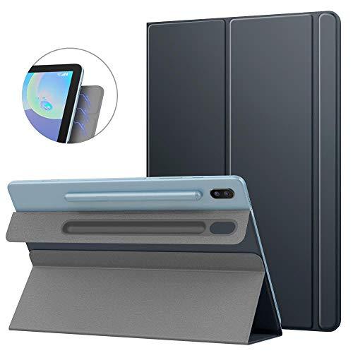 Smart Folio Case para Samsung Galaxy Tab S6 10.5 2019 Slim Lightweight Smart Shell Stand Cover Adsorción magnética Fuerte para Tab-Gris Espacial