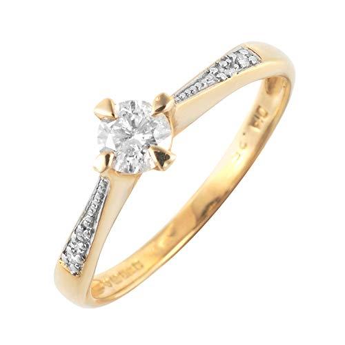 Bijoux pour tous 145R0167-01/9 - Anillo de compromiso de oro amarillo de 9 quilates con diamante (.26), talla 14 (17,2 mm)
